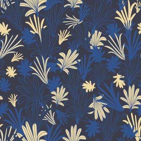 Vector blue yellow leaves, petals seamless pattern