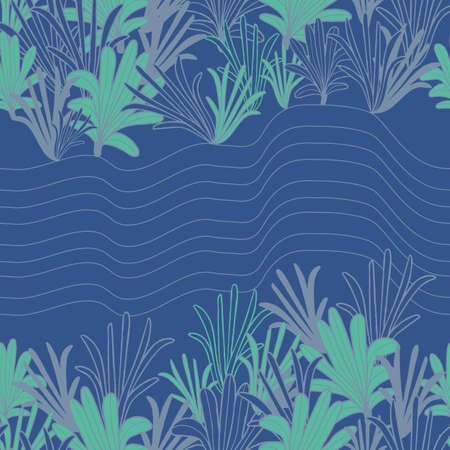 Vector green blue palm leaves reef seamless pattern