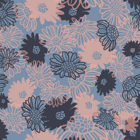 Vector pink daisy camomiles blue seamless pattern Stockfoto - 151122001