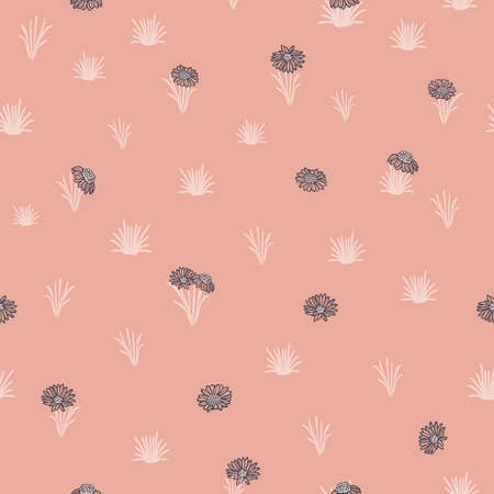 Vector pink white daisy camomiles seamless pattern