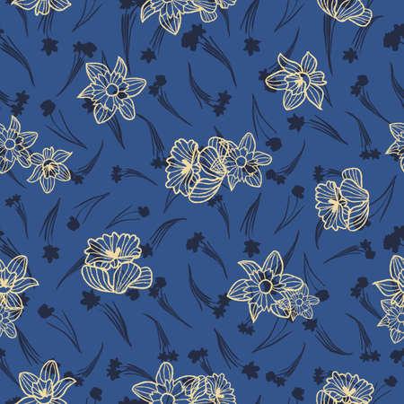 Vector yellow blue daffodils seamless pattern print Illustration
