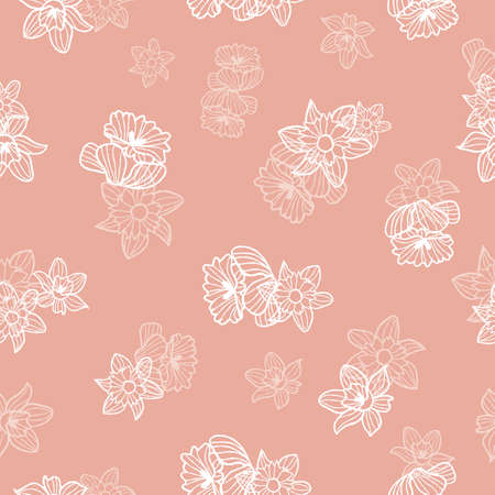 Vector hand drawn white daffodils flowers seamless pattern pink print background. Surface pattern design. Perfect for fabric, wedding projects, packaging easter, scrapbooking, background, wallpapers. Illustration