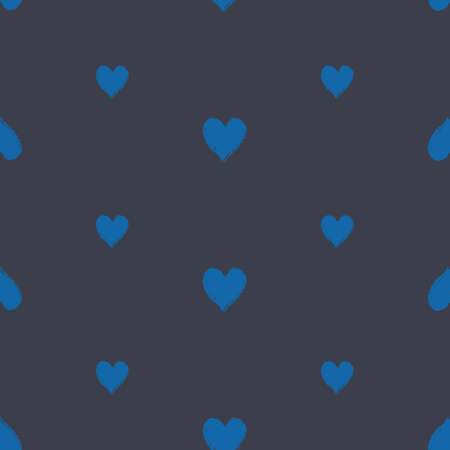 Vector hand drawn blue hearts seamless pattern print background. Surface pattern design. Great for fabric, packaging, spring wedding projects.