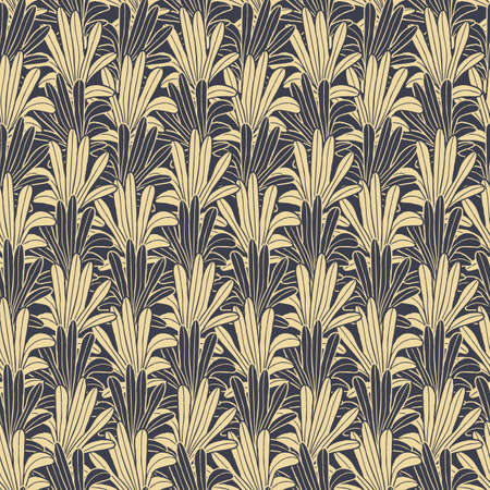 Vector yellow gold leaves, palms seamless pattern