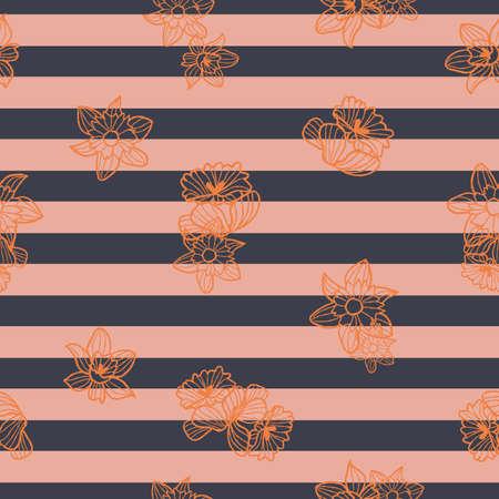 Vector orange daffodils, stripes seamless pattern pink Stock Illustratie