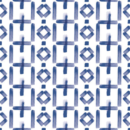 Vector blue stripes, figures folk seamless pattern