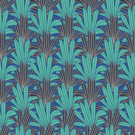 Vector green leaves, palms blue seamless pattern Stock Illustratie