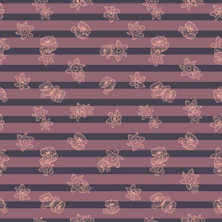 Vector orange daffodils, stripes seamless pattern