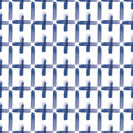 Vector blue stripes, squares seamless pattern modern