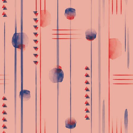 Vector red blue lines arrows dots seamless pattern
