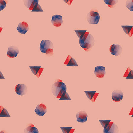 Vector red blue circles triangles seamless pattern