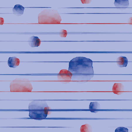 Vector red blue lines stripes dots seamless pattern