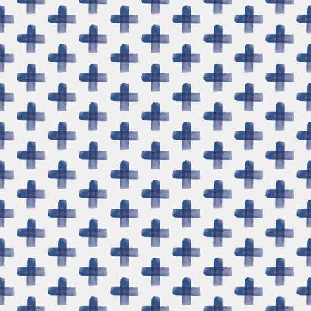 Vector blue crosses, stripes seamless pattern