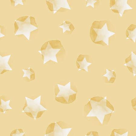 Vector painted sky, stars yellow seamless pattern Stock Illustratie