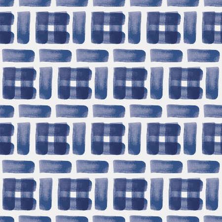 Vector blue brushstroke stripes seamless pattern painted