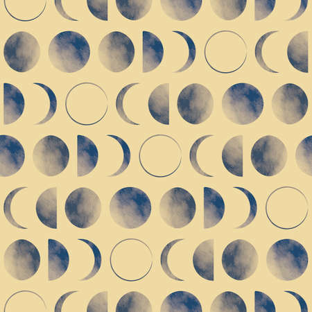 Vector blue moon phases yellow seamless pattern