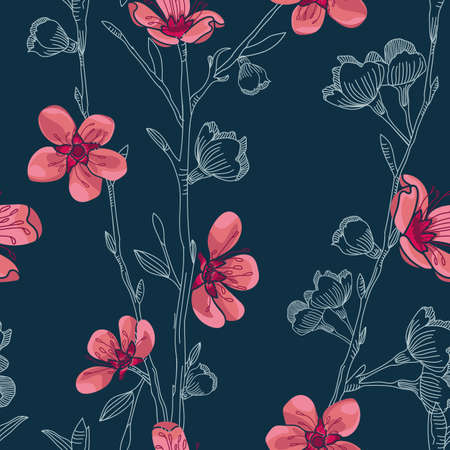 Vector pink cherry flowers blue seamless pattern