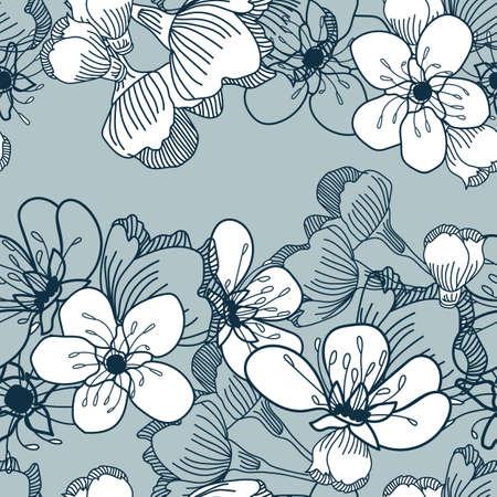 Vector white cherry flowers blue seamless pattern Stock Illustratie