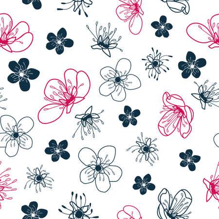 Vector dark cherry flowers white seamless pattern Stock Illustratie
