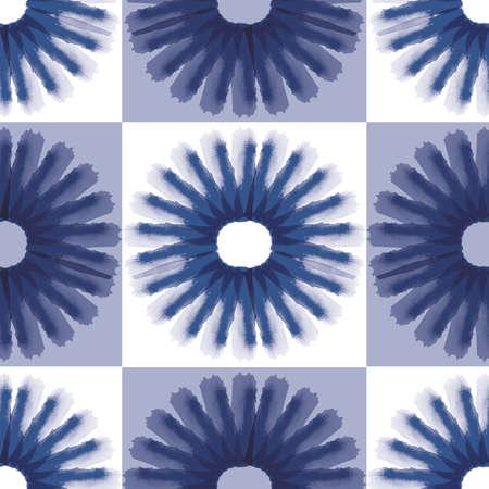 Vector blue leaves flowers folk seamless pattern