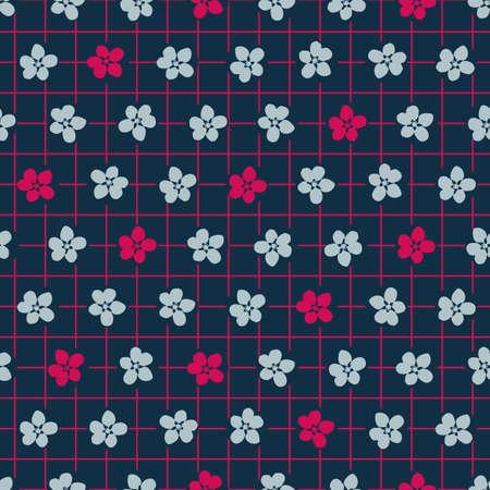 Vector pink cherry flowers dark seamless pattern Stock Illustratie