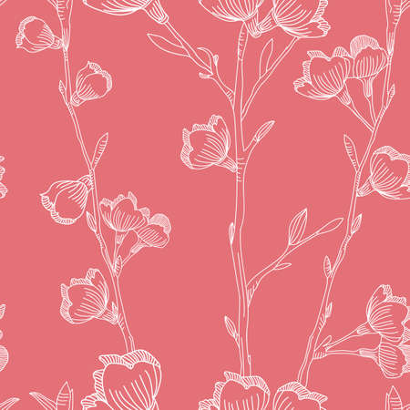 Vector pink white cherry flowers seamless pattern