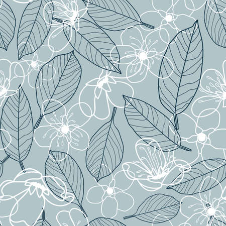 Vector white grey flowers leaves seamless pattern