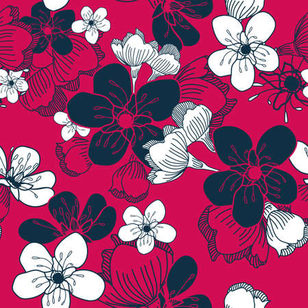 Vector white pink cherry flowers seamless pattern