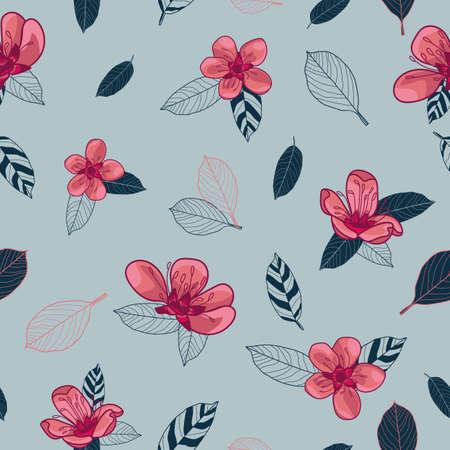 Vector pink cherry flowers grey seamless pattern