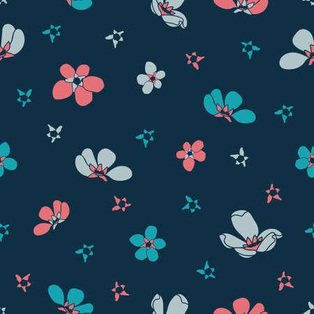 Vector blue pink cherry flowers seamless pattern grey