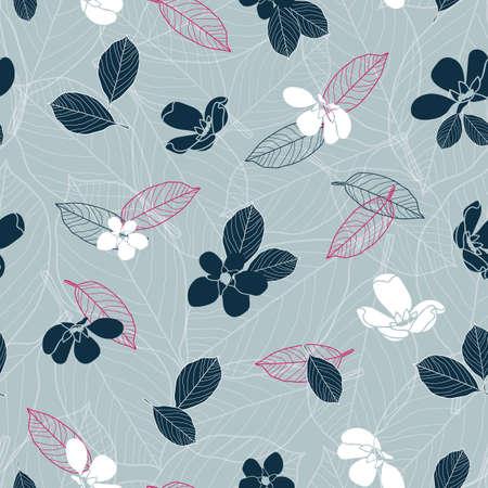 Vector navy blue flowers grey seamless pattern