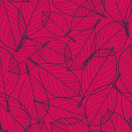 Vector dark navy blue leaves pink seamless pattern