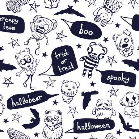 Vector monochrome halloween teddy seamless pattern, bats, stars