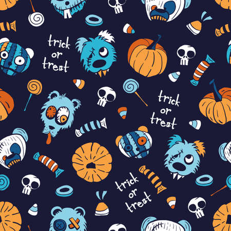 Vector candies, pumpkins, teddies seamless pattern halloween