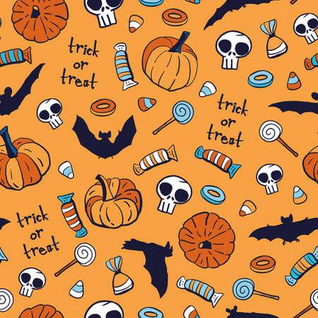 Vector candy skull pumpkin bat seamless pattern