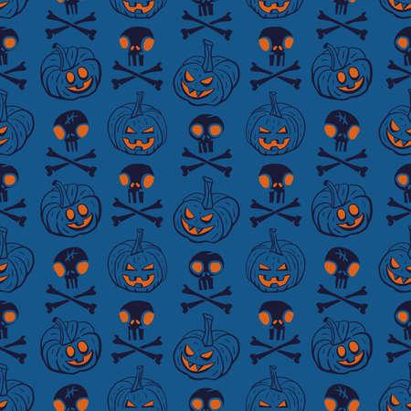 Vector pumpkins skulls bones blue seamless pattern Stock Illustratie