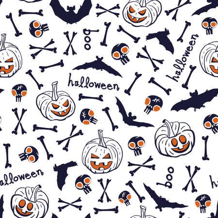 Vector black pumpkins bats bones seamless pattern