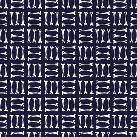 Vector white black bones dark seamless pattern