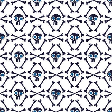 Vector black skulls bones white seamless pattern Stock Illustratie