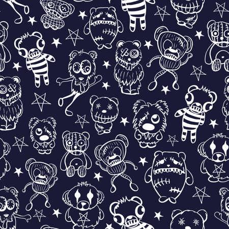 Vector white teddies aliens dark seamless pattern
