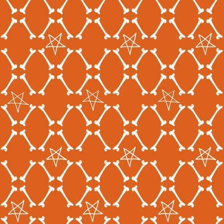 Vector white bones stars orange seamless pattern