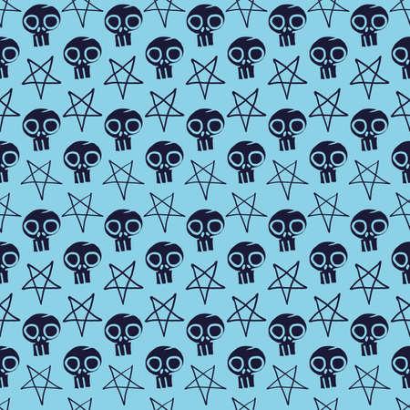 Vector blue dark skulls pentagram seamless pattern