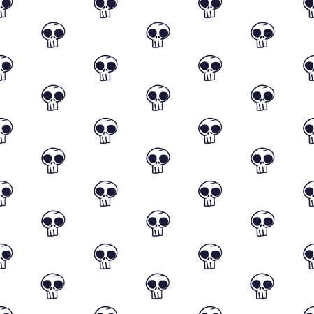 Vector white black skulls seamless pattern background Stock Illustratie