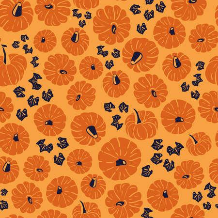 Vector orange pumpkins blue seamless pattern leaves Stock Illustratie