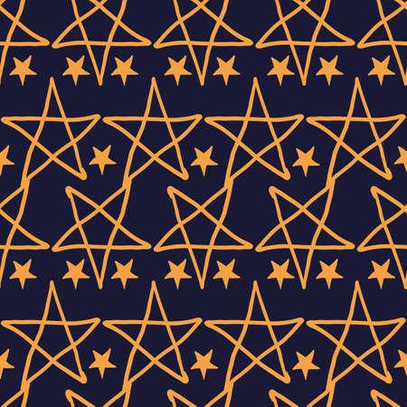Vector orange star pentagram dark seamless pattern