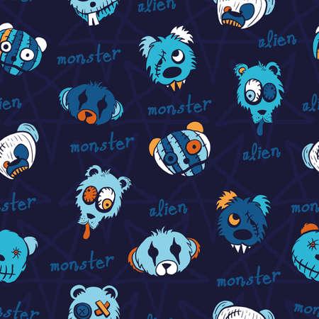 Vector blue teddies aliens dark seamless pattern