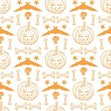 Vector orange pumpkins bats bones seamless pattern Stock Illustratie