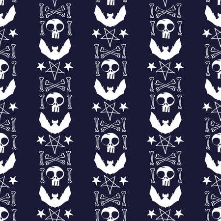 Vector white skull bat star dark seamless pattern Stock Illustratie