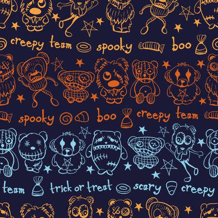 Vector orange blue teddies aliens dark seamless pattern