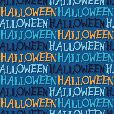 Vector blue orange text halloween seamless pattern